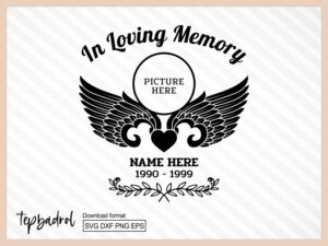 in loving memory svg memorial template angel svg Funeral