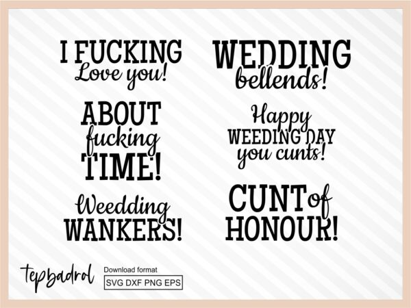wedding gift bags svg bundle funny wedding quotes